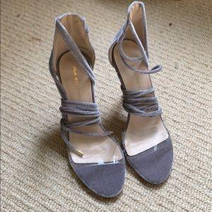 Grey velvet strappy heels